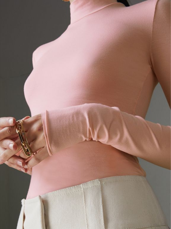 Stretch Modal Silk Turtleneck Top in Light Pink - Women | Burberry - cell image 1
