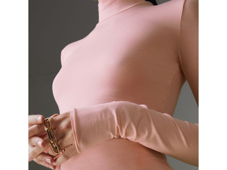Stretch Modal Silk Turtleneck Top in Light Pink - Women | Burberry United Kingdom - cell image 1