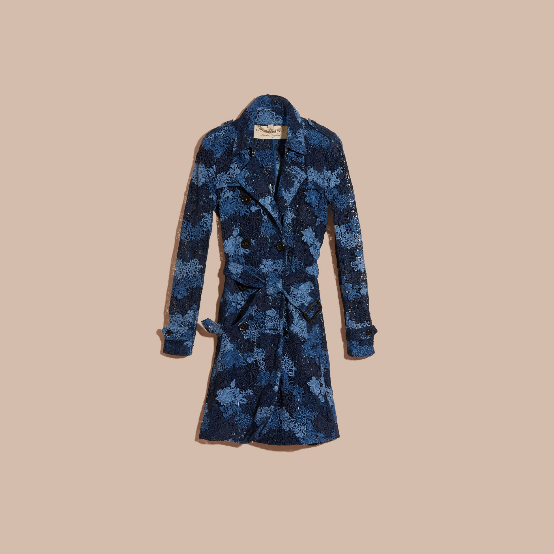 Ink blue Floral Italian Macramé Lace Trench Coat - gallery image 3