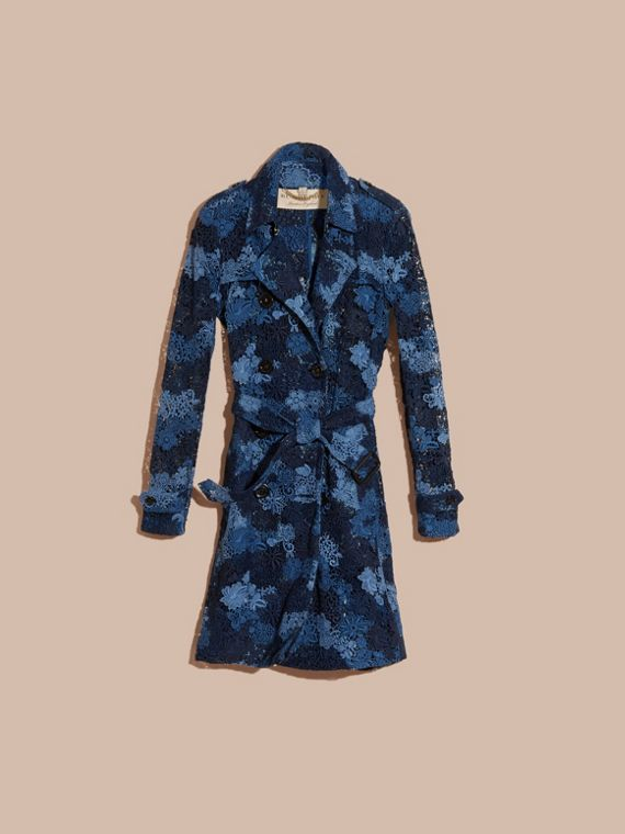 Ink blue Floral Italian Macramé Lace Trench Coat - cell image 2