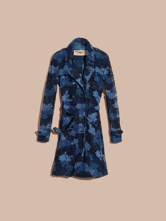 Bleu encre Trench-coat en macramé de dentelle italienne à motif floral - cell image 2