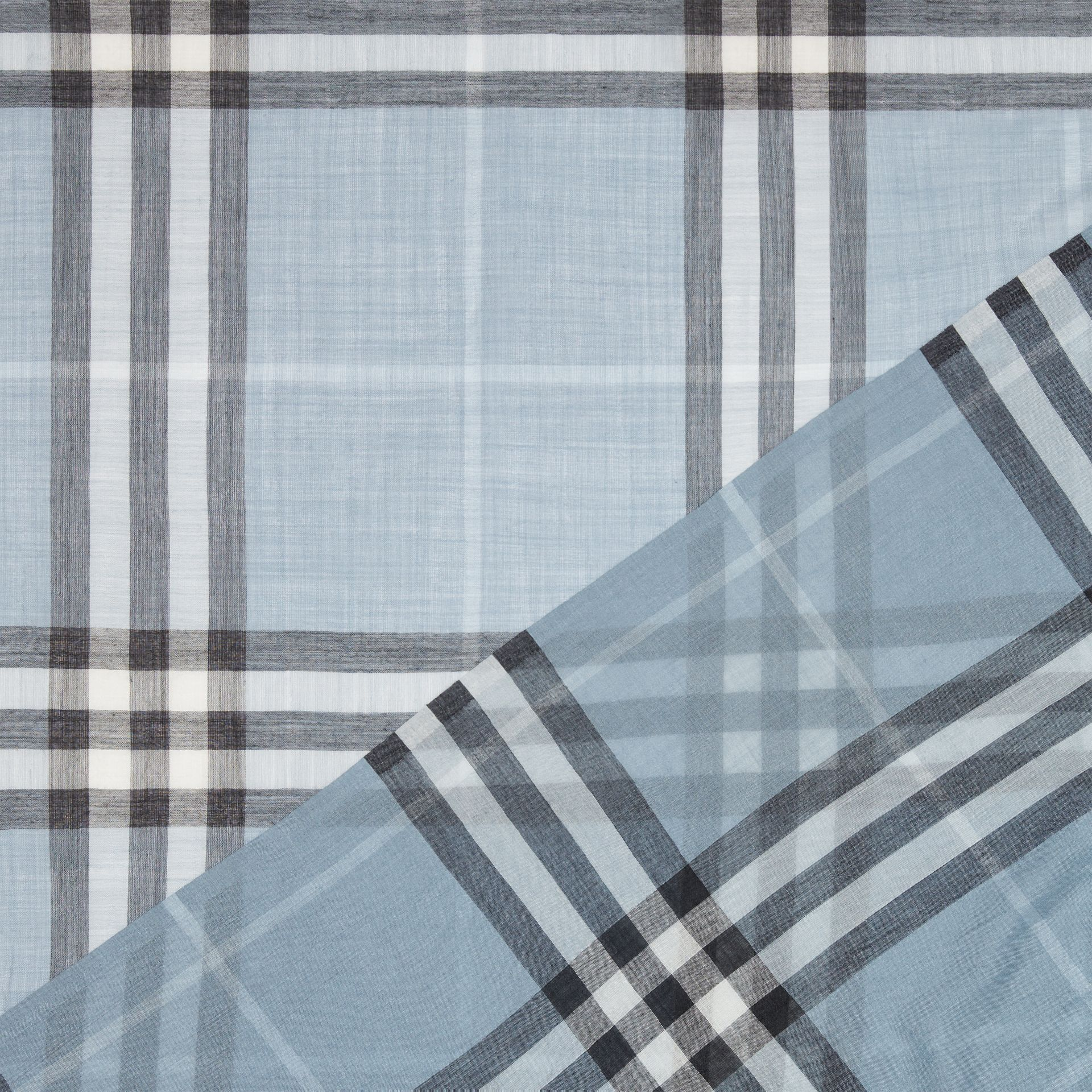 Lightweight Check Wool and Silk Scarf in Dusty Blue - Women | Burberry - gallery image 1