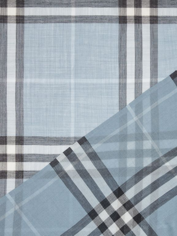 Lightweight Check Wool and Silk Scarf in Dusty Blue - Women | Burberry United States - cell image 1