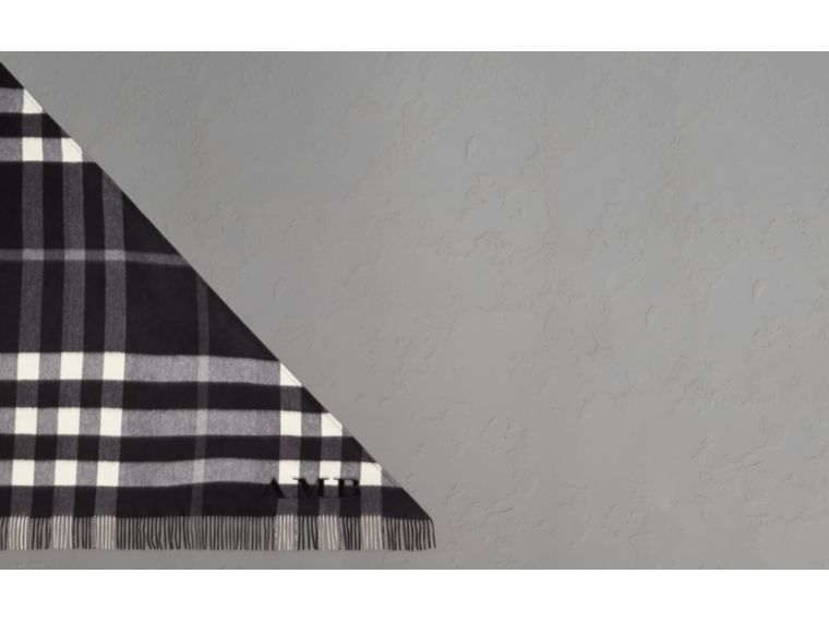 The Burberry Bandana in Check Cashmere in Black | Burberry Australia - cell image 1