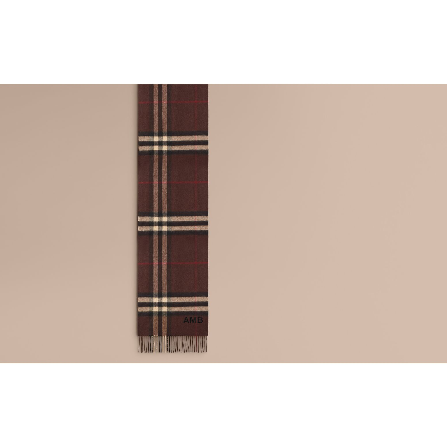 Dark chestnut brown check The Classic Cashmere Scarf in Check Dark Chestnut Brown - gallery image 2