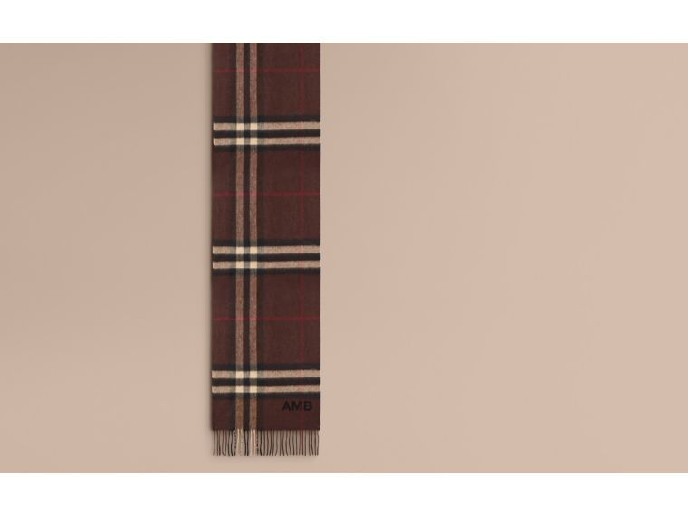 Dark chestnut brown check The Classic Cashmere Scarf in Check Dark Chestnut Brown - cell image 1