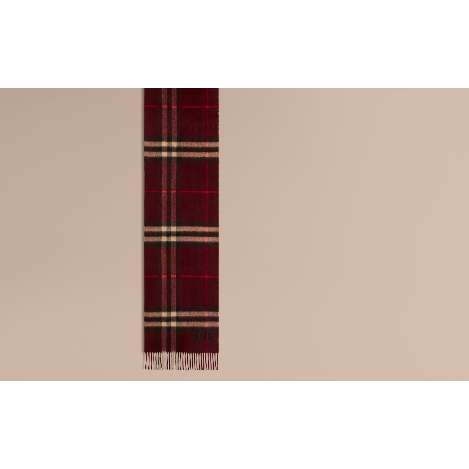 The Classic Cashmere Scarf in Check Claret - gallery image 2