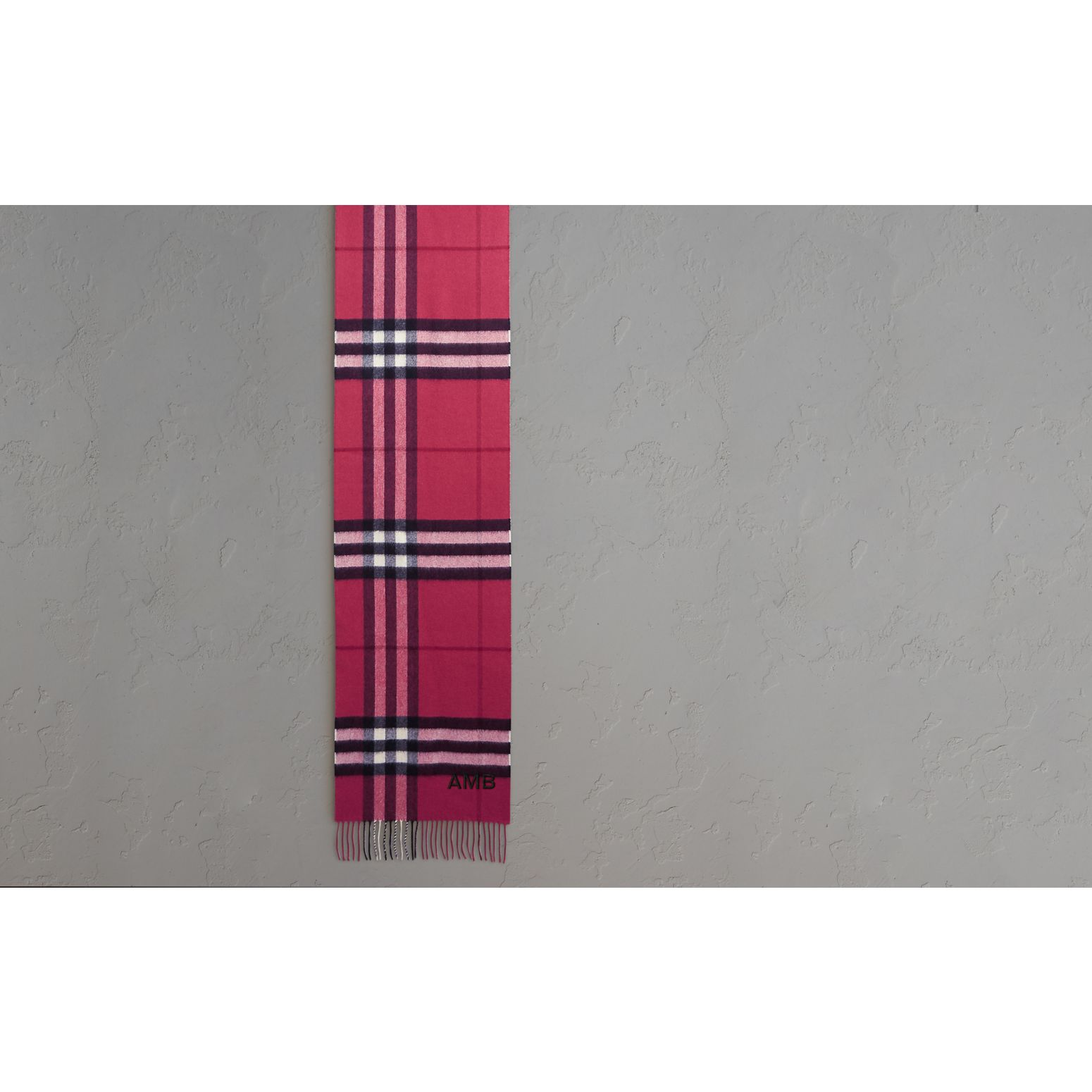 The Classic Cashmere Scarf in Check Fuchsia Pink - gallery image 2