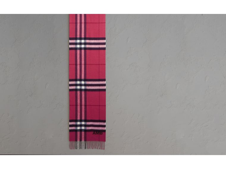 The Classic Cashmere Scarf in Check in Fuchsia Pink - cell image 1