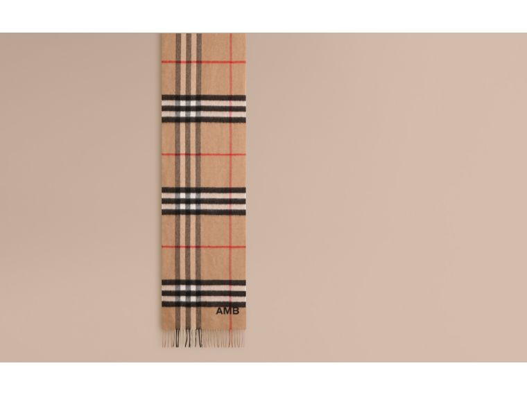 The Classic Check Cashmere Scarf in Camel | Burberry Australia - cell image 1