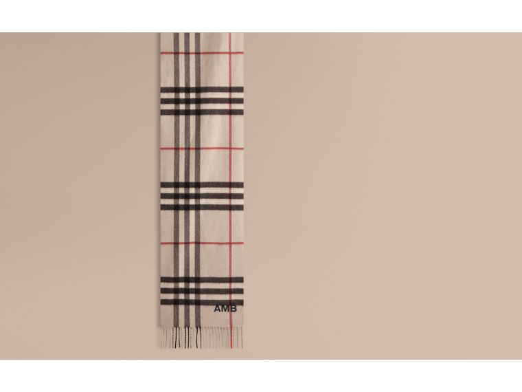 The Classic Cashmere Scarf in Check in Stone - cell image 1