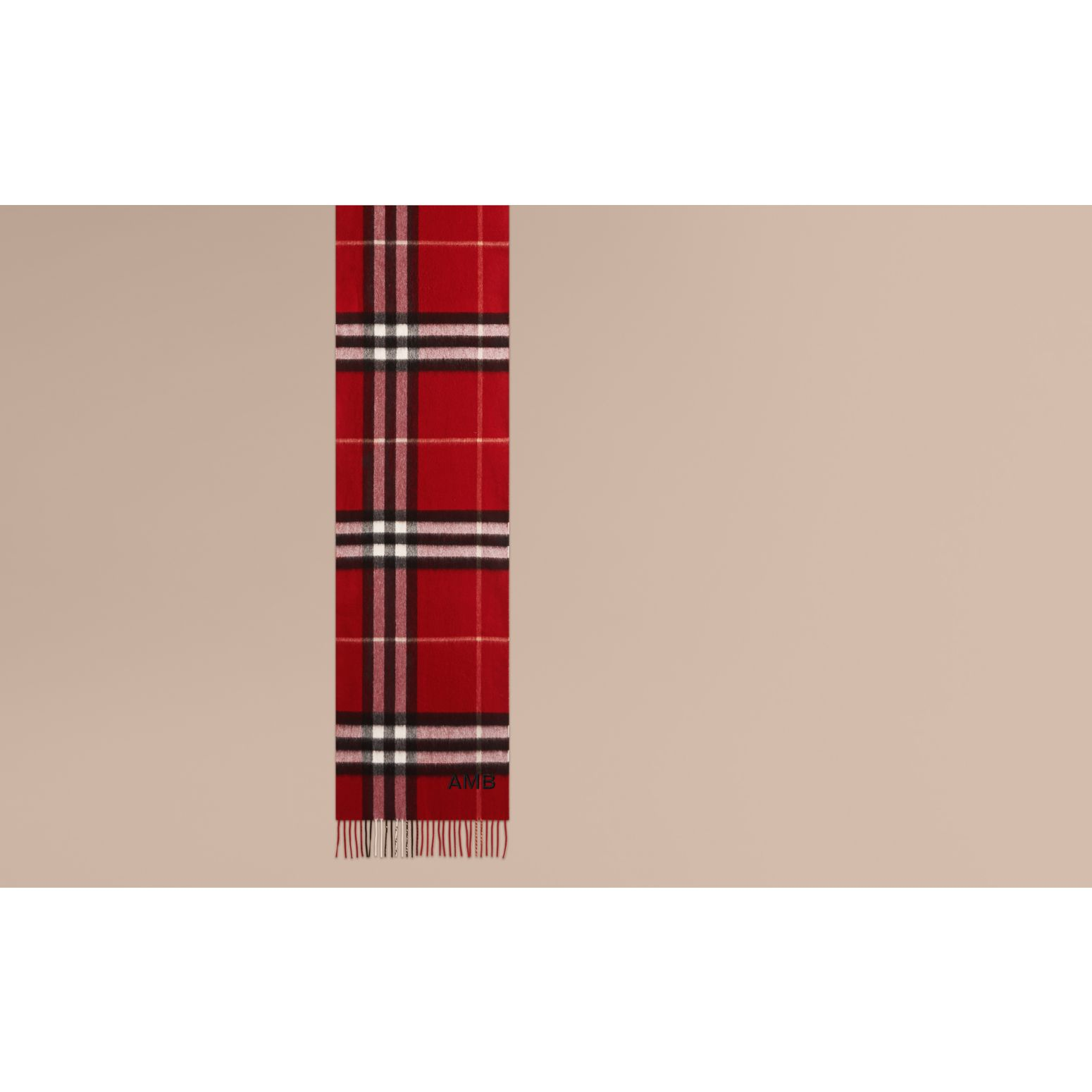 Parade red The Classic Cashmere Scarf in Check Parade Red - gallery image 2