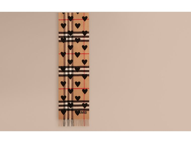 The Classic Cashmere Scarf in Check and Hearts in Black | Burberry Australia - cell image 1
