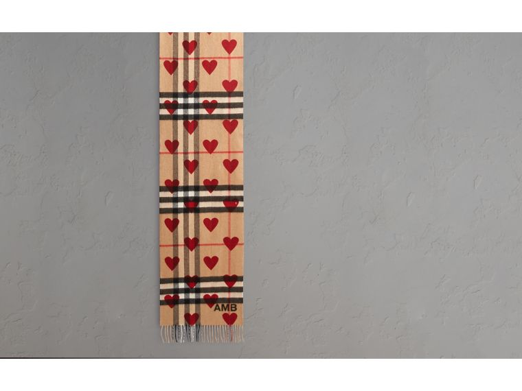 The Classic Cashmere Scarf in Check and Hearts Parade Red - cell image 1