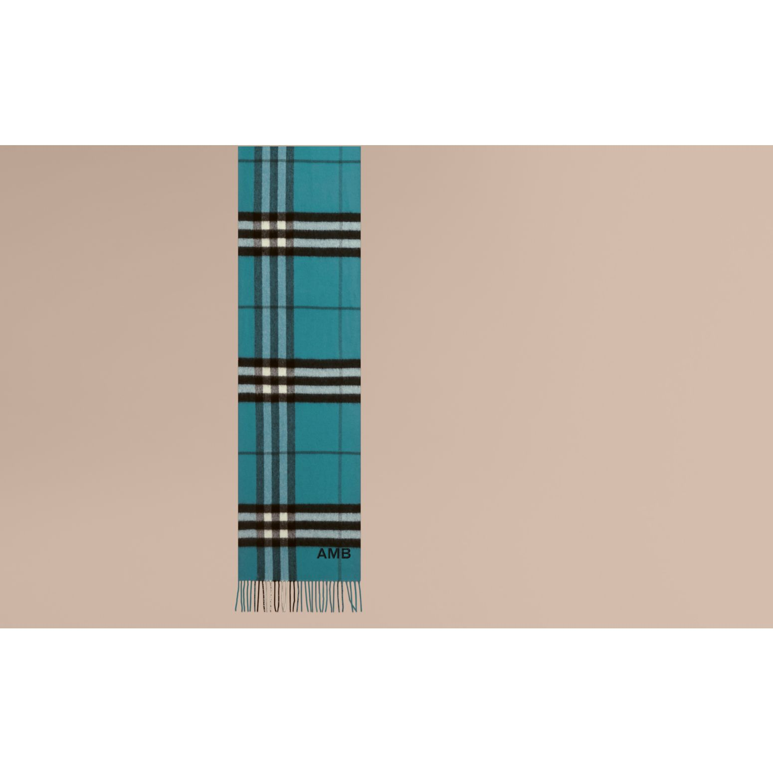 The Classic Cashmere Scarf in Check Dark Aqua - gallery image 2