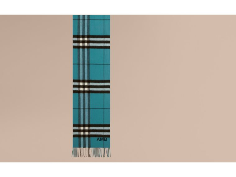 Dark aqua The Classic Cashmere Scarf in Check Dark Aqua - cell image 1