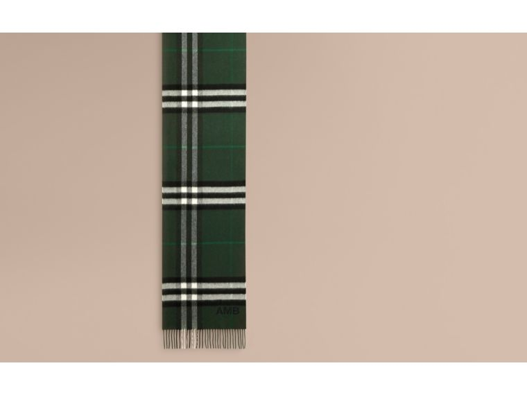 Dark forest green The Classic Cashmere Scarf in Check Dark Forest Green - cell image 1