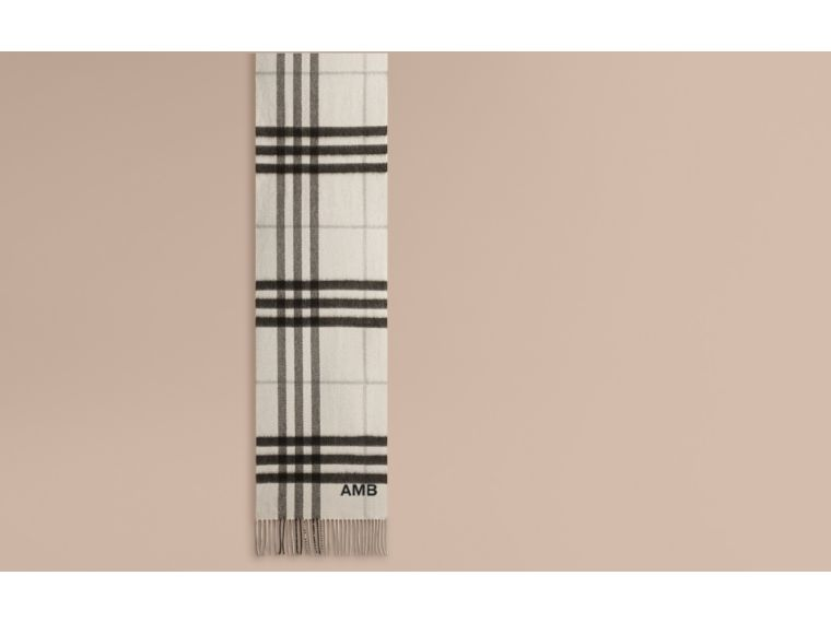 The Classic Cashmere Scarf in Check Natural White - cell image 1