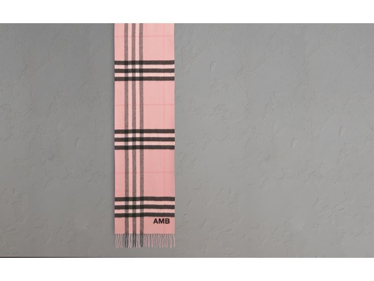 The Classic Cashmere Scarf in Check Rose - cell image 1