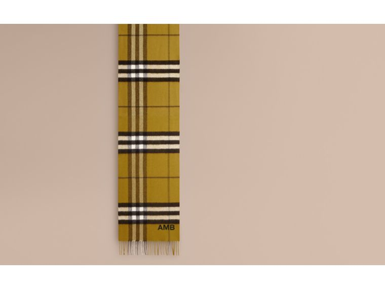 The Classic Cashmere Scarf in Check in Dark Lime - cell image 1