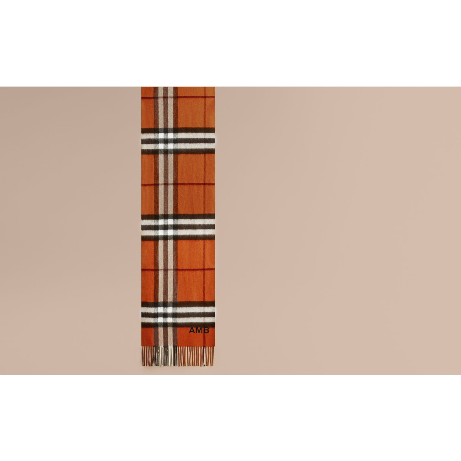 Burnt orange The Classic Cashmere Scarf in Check Burnt Orange - gallery image 2