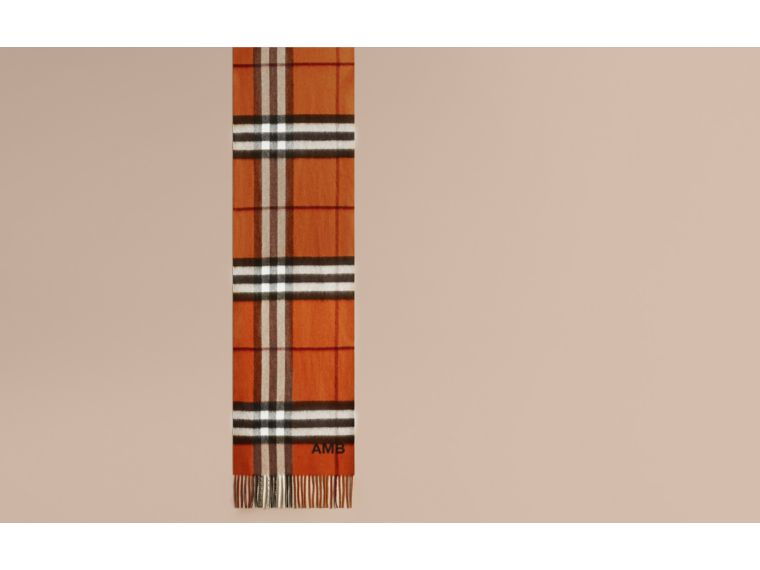 The Classic Cashmere Scarf in Check Burnt Orange - cell image 1