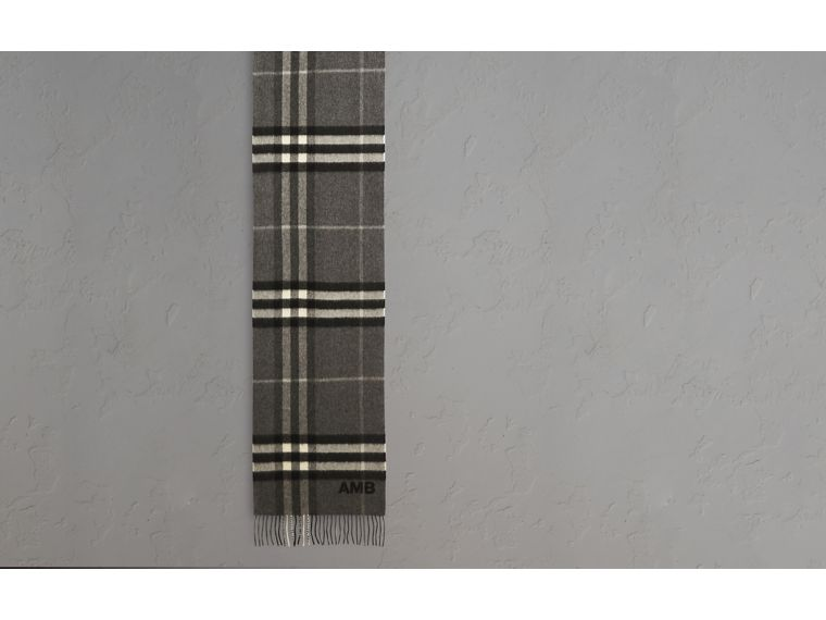 The Classic Cashmere Scarf in Check Mid Grey - cell image 1