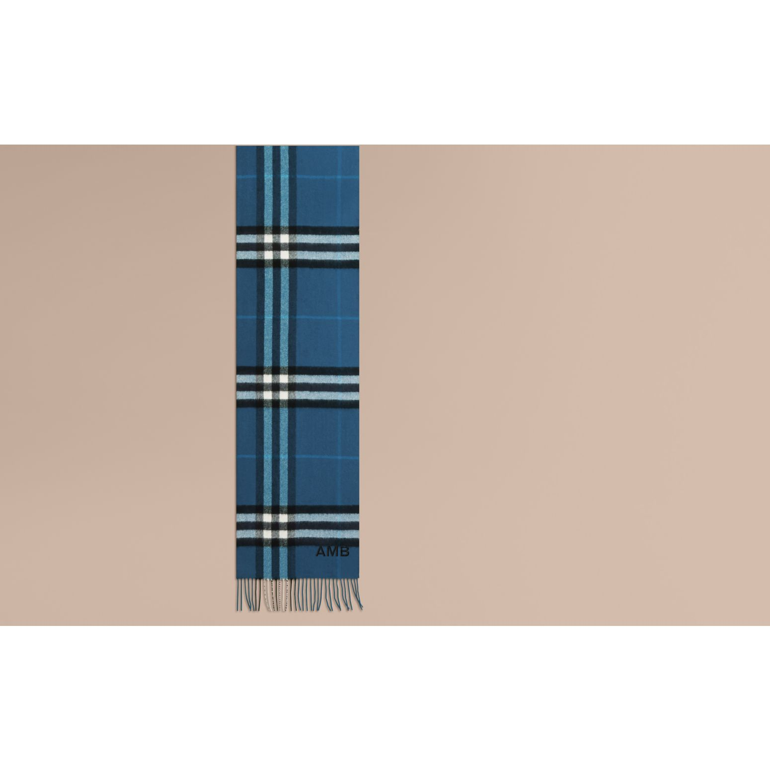 Marine blue The Classic Cashmere Scarf in Check Marine Blue - gallery image 2