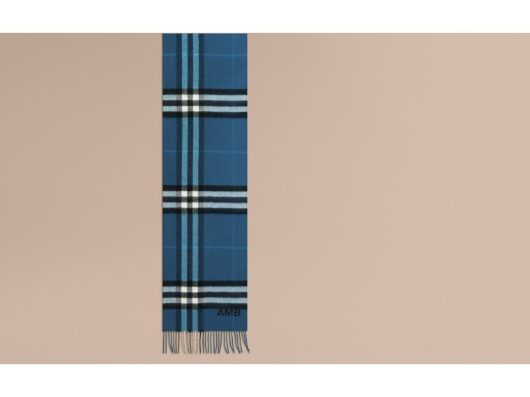 Marine blue The Classic Cashmere Scarf in Check Marine Blue - cell image 1