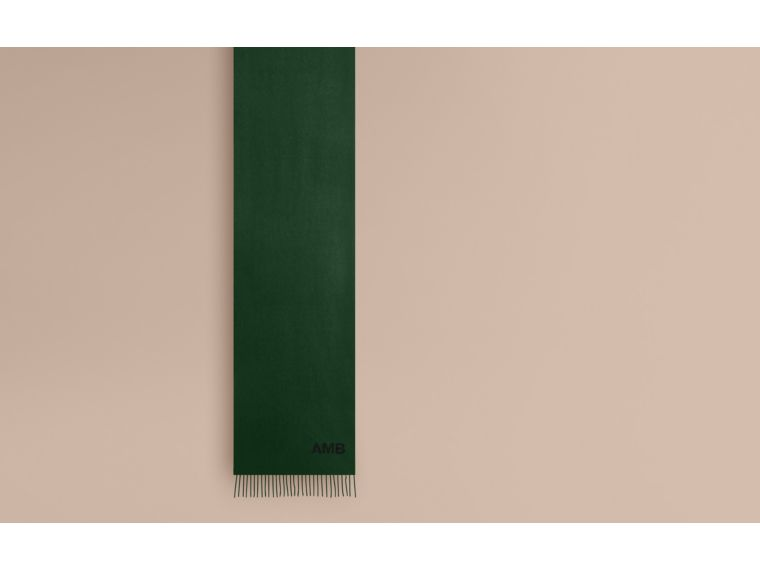 The Classic Cashmere Scarf in Dark Forest Green - cell image 1