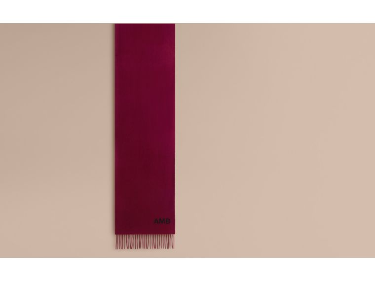 The Classic Cashmere Scarf in Plum | Burberry - cell image 1