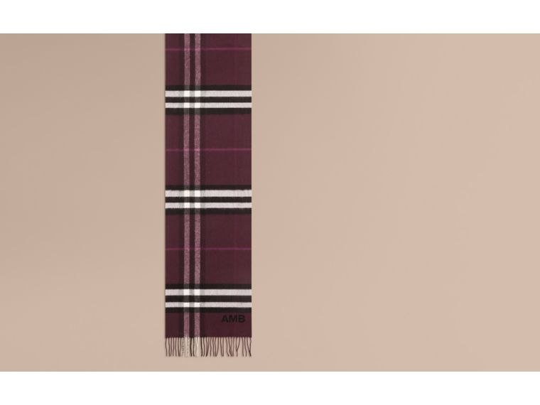 The Classic Cashmere Scarf in Check in Aubergine - cell image 1