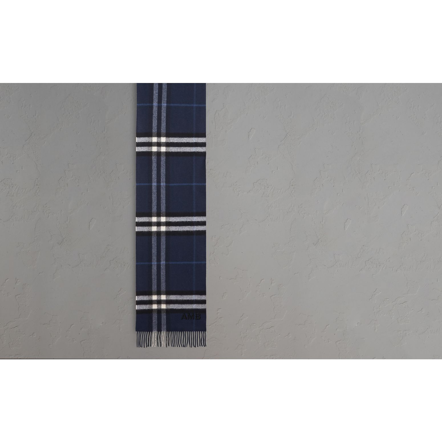 The Classic Cashmere Scarf in Check Indigo Blue - gallery image 2