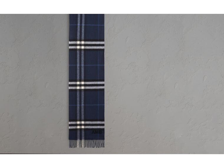 The Classic Cashmere Scarf in Check Indigo Blue - cell image 1
