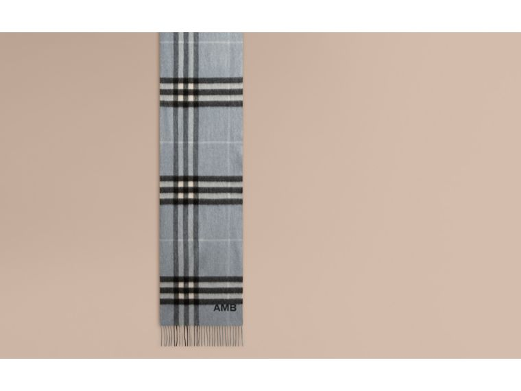 The Classic Cashmere Scarf in Check in Dusty Blue - cell image 1