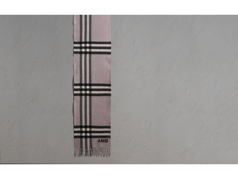 The Classic Cashmere Scarf in Check Dusty Lilac - cell image 1