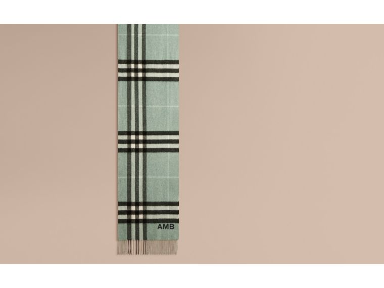 The Classic Cashmere Scarf in Check in Dusty Mint - cell image 1