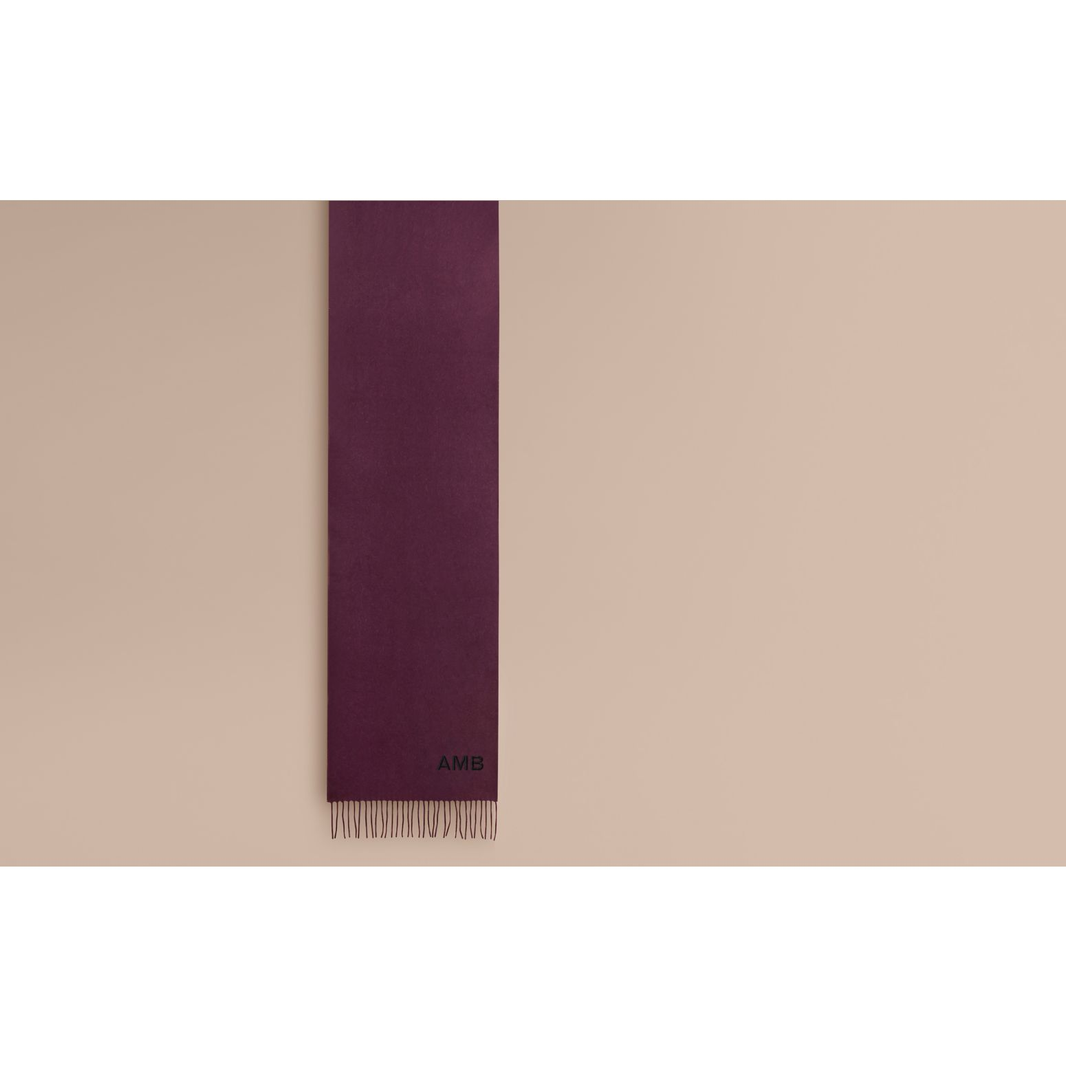 The Classic Cashmere Scarf in Aubergine - gallery image 2