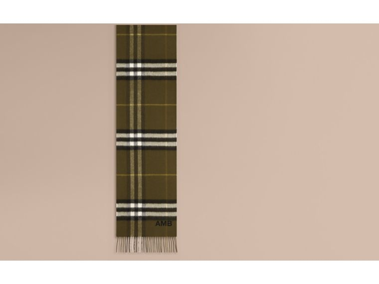 Olive green The Classic Cashmere Scarf in Check Olive Green - cell image 1