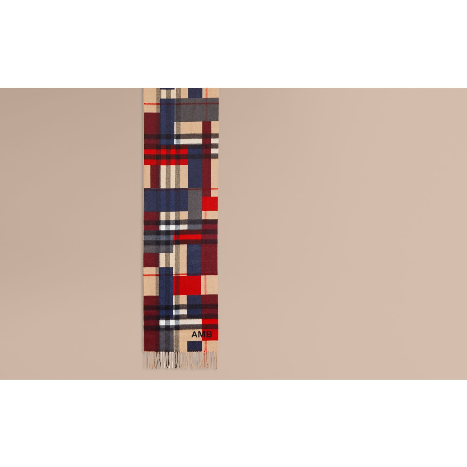Parade red The Classic Cashmere Scarf in Colour Block Check - gallery image 2