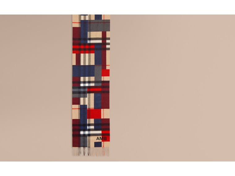Parade red The Classic Cashmere Scarf in Colour Block Check - cell image 1