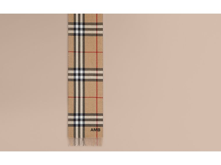 Camel check The Classic Cashmere Scarf in Check with Topstitch Detail Camel - cell image 1