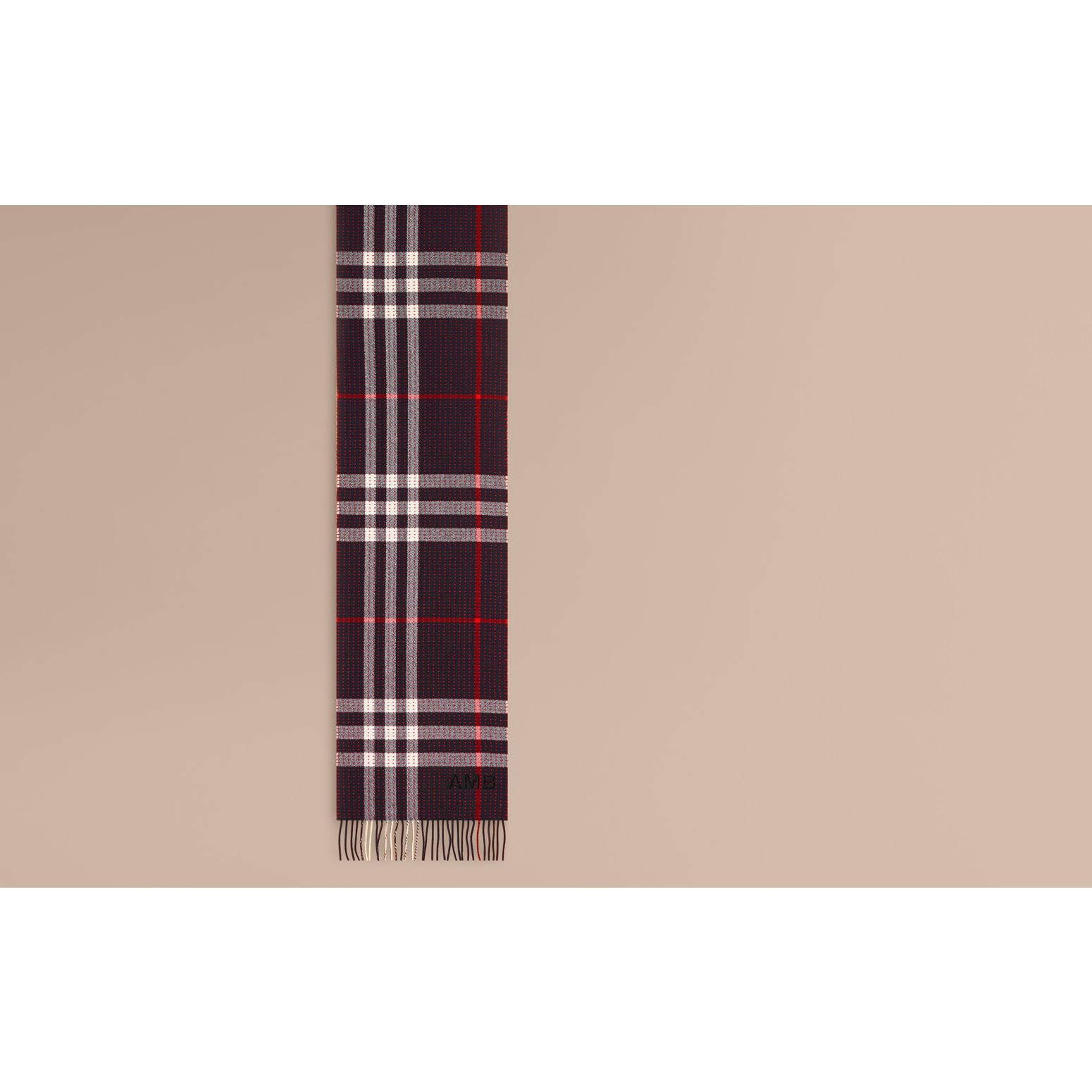 Navy check The Classic Cashmere Scarf in Check with Topstitch Detail Navy - gallery image 2