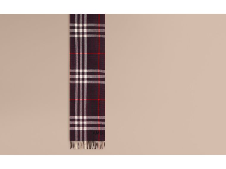 Navy check The Classic Cashmere Scarf in Check with Topstitch Detail Navy - cell image 1