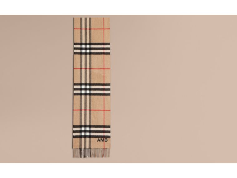 Camel/black The Classic Cashmere Scarf in Check with Sequined Heart Camel/black - cell image 1