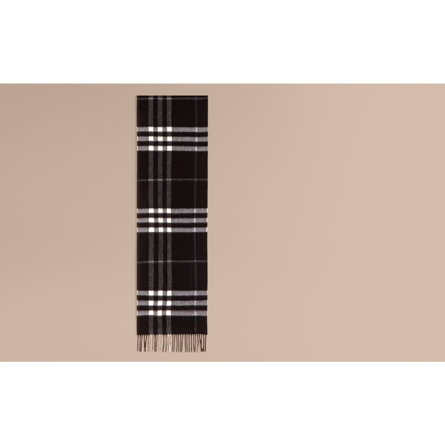 The Classic Cashmere Scarf in Check  Black - gallery image 2