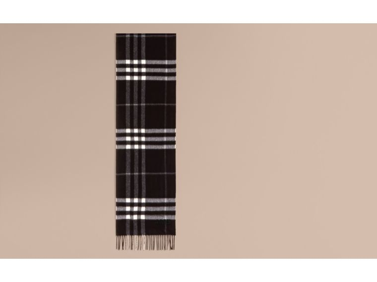 Black check The Classic Cashmere Scarf in Check  Black - cell image 1