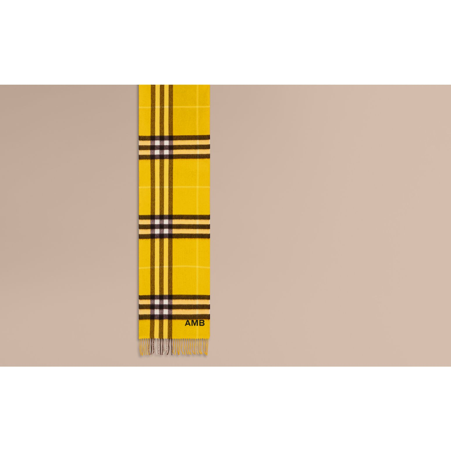 Gorse yellow The Classic Cashmere Scarf in Check  Gorse Yellow - gallery image 2