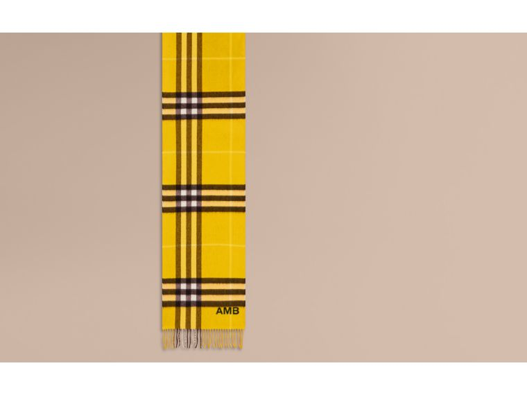 Gorse yellow The Classic Cashmere Scarf in Check  Gorse Yellow - cell image 1