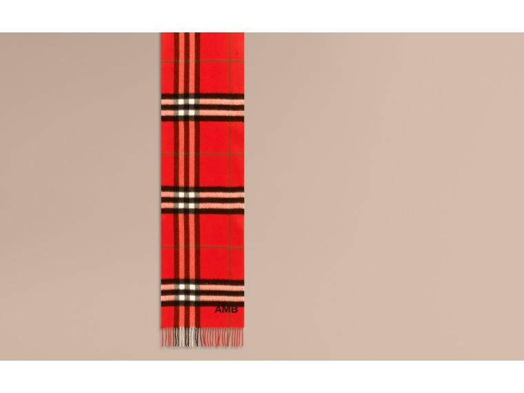 The Classic Cashmere Scarf in Check  Bright Orange Red - cell image 1